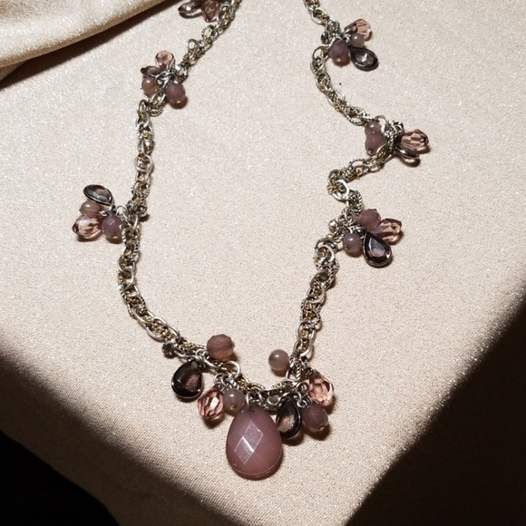 LOFT Jewelry - Loft Long Necklace Silver with Purple Beads